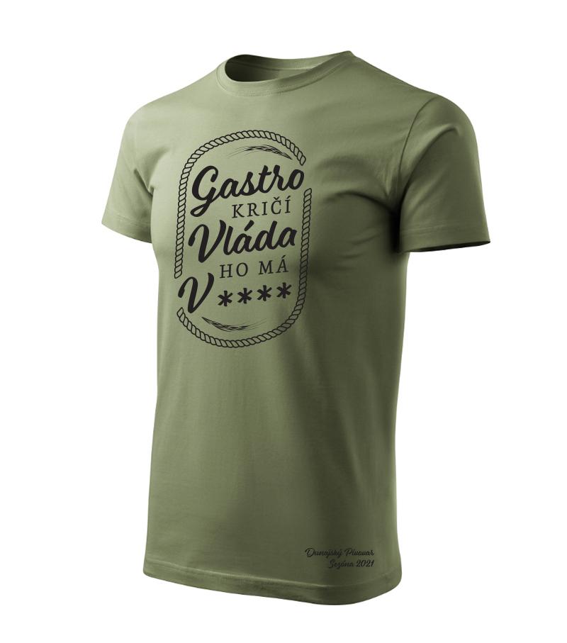 """Pánske tričko """"Gastro kričí..."""" khaki, veľkosť L"""