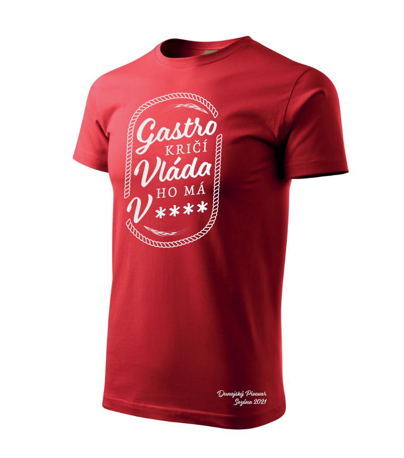 """Pánske tričko """"Gastro kričí..."""" červené, veľkosť L"""